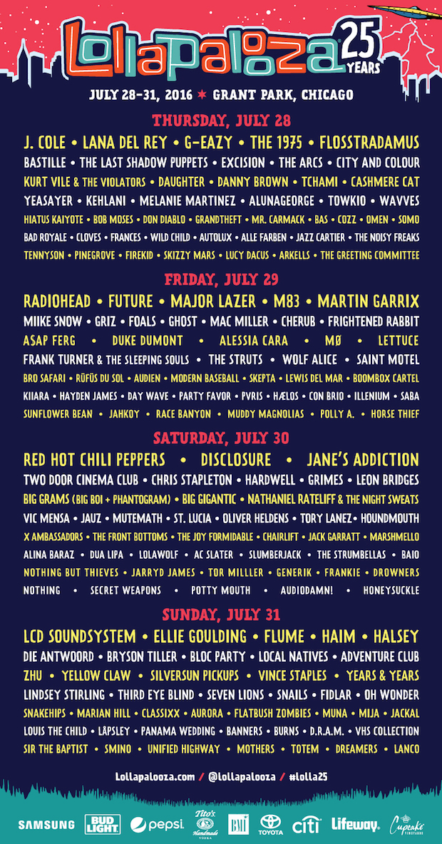 Lollapalooza 2016 Schedule Announced | Pitchfork