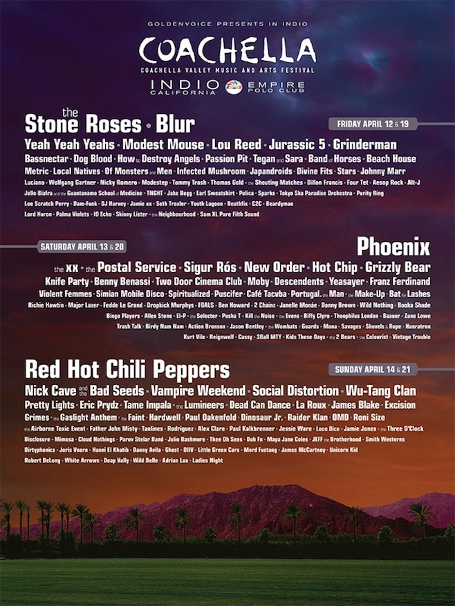 Coachella 2013 Lineup / Blur / the Stone Roses / Lou Reed / Phoenix / Red Hot Chili Peppers