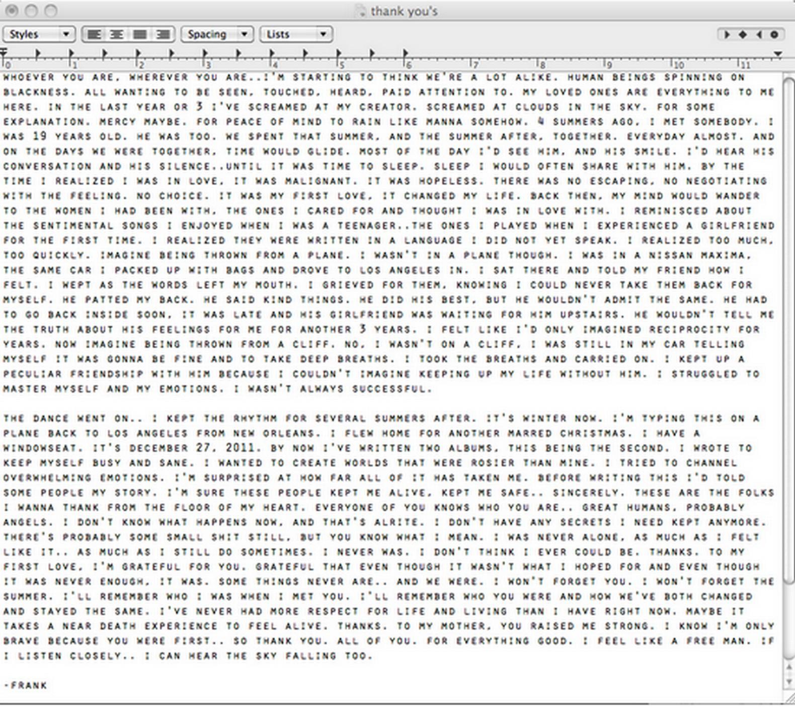 Frank Ocean Love Letter