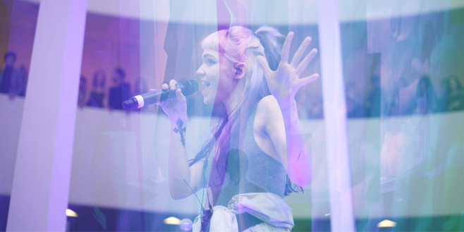 Photo Galleries: Grimes at the Guggenheim Museum