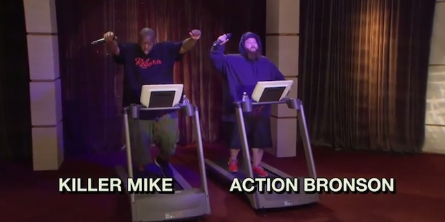 "Killer Mike and Action Bronson Battle Rap on Treadmills on ""The Eric André Show"""