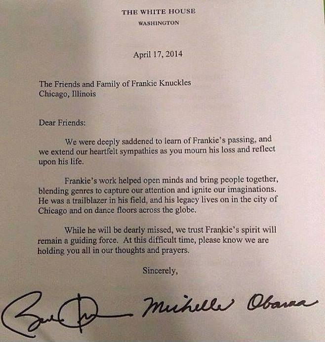 President Obama, Michelle Obama Write Letter to Frankie Knuckles ...